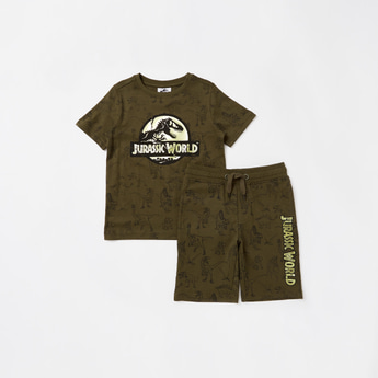 All-Over Jurassic World Print Short Sleeves T-shirt with Shorts