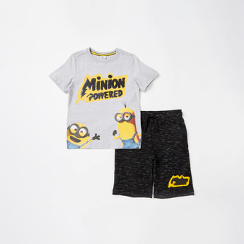 Minions Graphic Print Short Sleeves T-shirt with Shorts