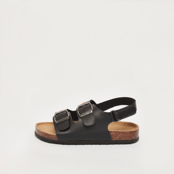 Solid Sandals with Hook and Loop Closure