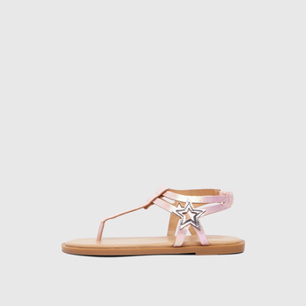 Star Applique Detail Sandals with Elasticised Ankle Strap
