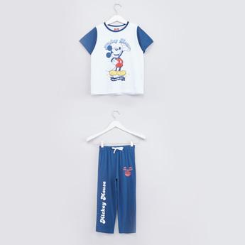Mickey Mouse Printed T-shirt and Pyjama Set