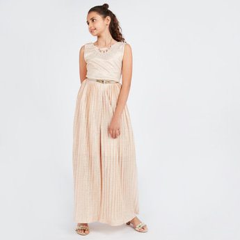 Embellished Sleeveless Jumpsuit with Round Neck and Belt