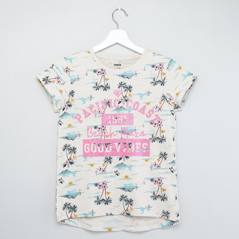 All Over Print T-shirt with Short Sleeves