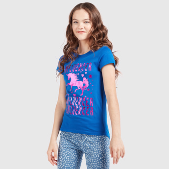 Unicorn Graphic Print T-Shirt with Round Neck and Cap Sleeves