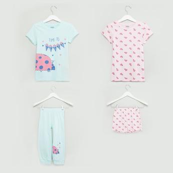 Printed 4-Piece Nightwear Set
