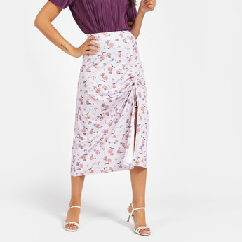 All-Over Floral Print Ruched Skirt with Elasticised Waistband