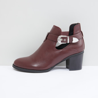 Stitch Detail Boots with Pin Buckle Closure