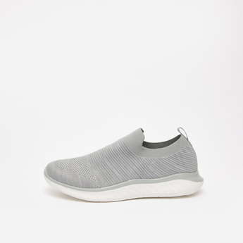 Textured Slip On Shoes with Elasticised Gusset and Pull Tab