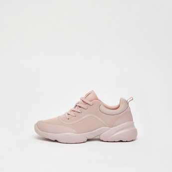 Solid Lace-Up Sneakers with Pull Tab