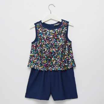 Sequin Detail Sleeveless Playsuit with Zip Closure