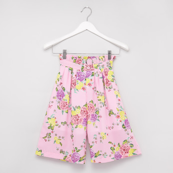 Floral Print Culottes with Elasticised Waistband