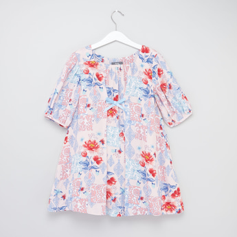 Printed Trapeze Neck Dress with Elbow Length Sleeves and Bow
