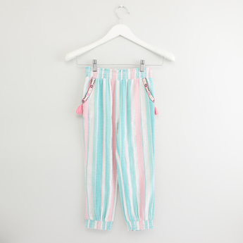 Striped Harem Pants with Pockets and Elasticised Waistband