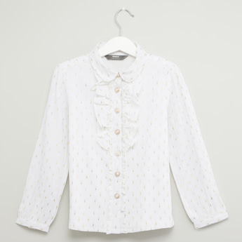 Printed Peter Pan Collared Shirt with Frill Detail