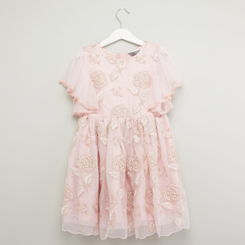 Embroidered Dress with Round Neck and Short Sleeves