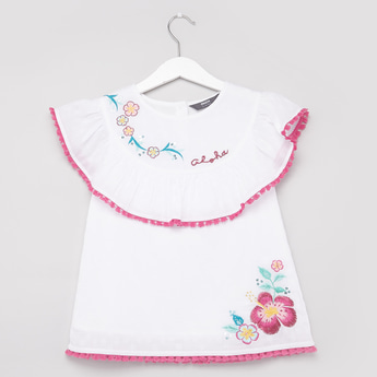 Embroidered Top with Round Neck and Cap Sleeves