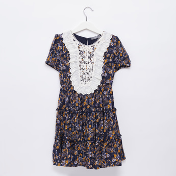 Floral Print Midi Dress with Lace Bib and Short Sleeves
