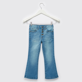 Solid Flared Bootleg Jeans with Pockets and Button Closure