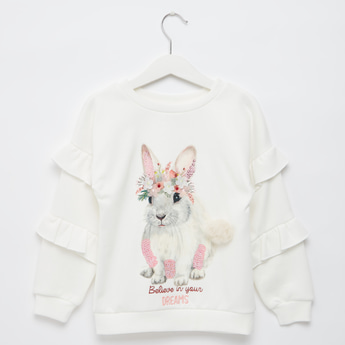 Rabbit Print Sweat Top with Long Sleeves and Ruffle Detail