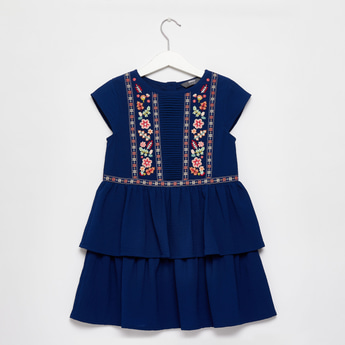 Embroidered Detail Mini Tiered Dress with Cap Sleeves