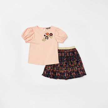 Embroidered Round Neck Top and Pleated Skirt Set