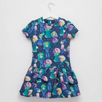 All Over Print Tiered Dress with Round Neck and Short Sleeves