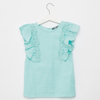 Textured Sleeveless Top with Round Neck and Frill Detail