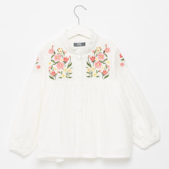 Floral Embroidered High Neck Top with Pleat Detail and Long Sleeves