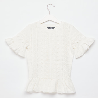 Lace Detail Top with Short Sleeves and Round Neck