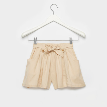 Solid Shorts with Elasticised Waistband and Tie-Ups
