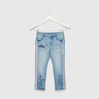 Disney Princess Embroidered Detail Jeans with Pocket Detail