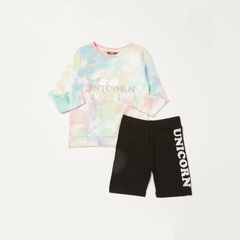 Printed Tie-Dye T-shirt and Shorts Set