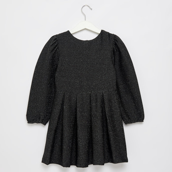 Lurex Jacquard Knit Dress with Round Neck and Long Sleeves