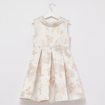 Butterfly Embroidered Sleeveless Dress with Tie Ups