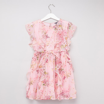 Floral Print Dress with Ruffles and Tie-Up Detail