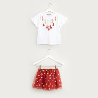 Embroidered Tassel Detail Top with Star Print Tutu Skirt