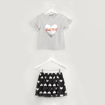 Sequin Detail Striped T-shirt with Heart Print Tutu Skirt