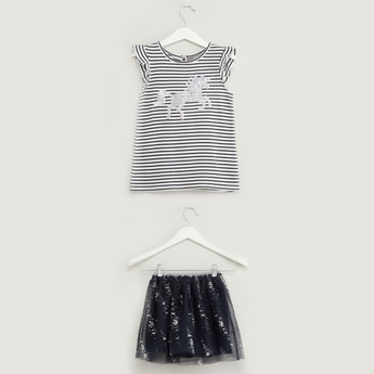 Unicorn Sequin Detail Round Neck Top with Mesh Skirt