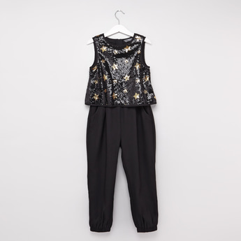 Sequin Detail Sleeveless Jumpsuit with Pocket Detail and Zip Closure