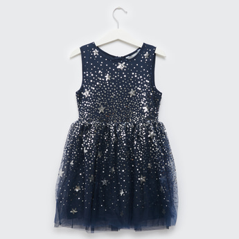 Sequin Detail Sleeveless Dress with Round Neck and Zip Closure