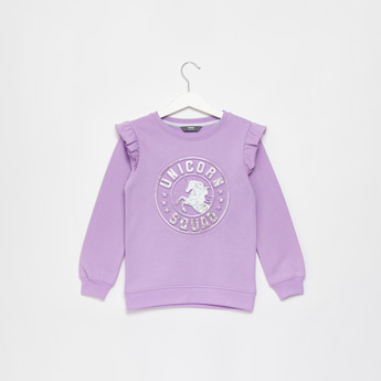 Unicorn Embossed Print Sweat Top with Round Neck and Long Sleeves
