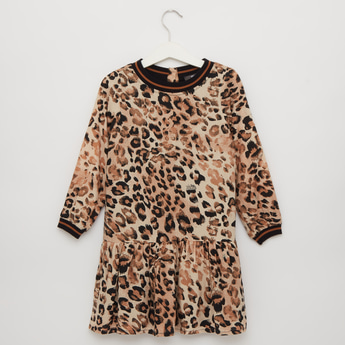 Animal Print Round Neck Dress with Long Sleeves