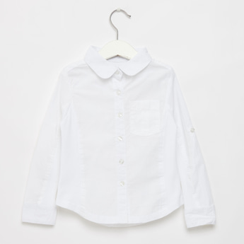 Solid Collared Shirt with Long Sleeves and Side Ribbed Panel Detail