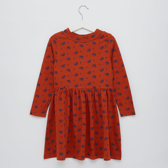 Hedgehog Print Dress with Round Neck and Long Sleeves