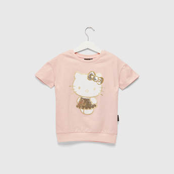 Hello Kitty Sequin Detail Sweatshirt with Round Neck and Short Sleeves