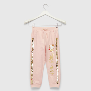 Hello Kitty Graphic Print Jog Pants with Sequin Detail