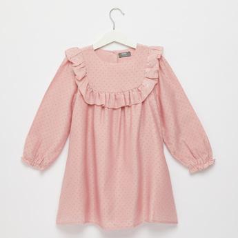 Polka Dots Print Dress with Long Sleeves and Ruffle Detail