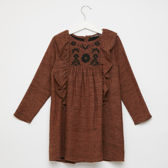 Embroidered Detail Dress with Long Sleeves and Frill Detail