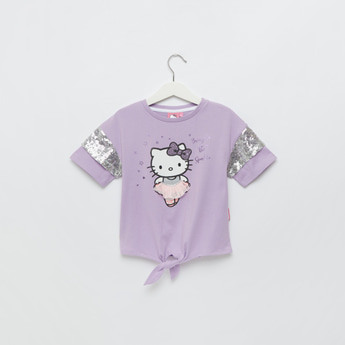 Hello Kitty Embellished T-shirt with Short Sleeves and Knot Detail