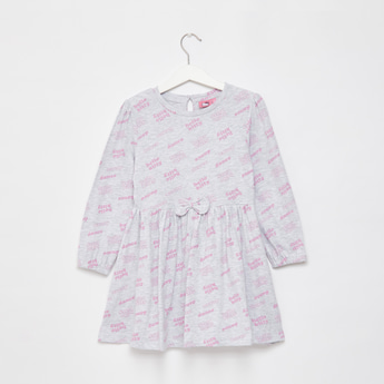 Hello Kitty Print Mini Long Sleeves Dress with Bow Accent